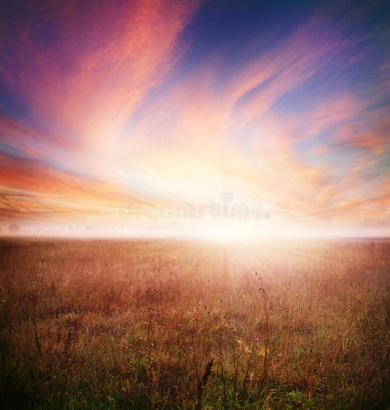 Morning Landscape. Foggy Landscape.Early Morning Mist stock image
