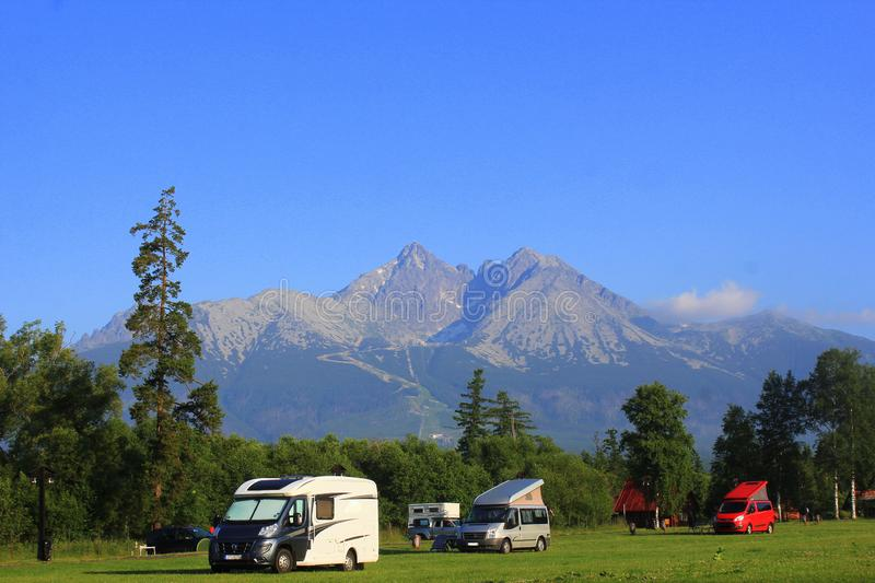 Morning landscape with a camping in mountains of High Tatras, Slovakia royalty free stock image