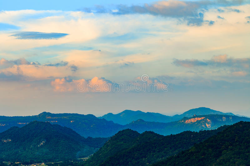 Morning landscape. Mountains with sky stock image