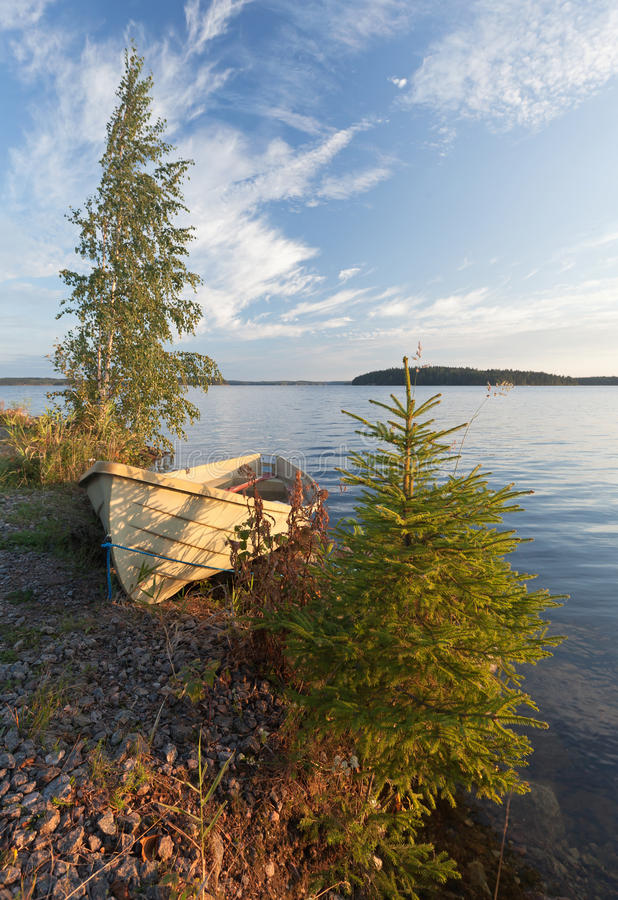 Download Morning Landscape With Old Row Boat And Trees Stock Image - Image of old, coast: 26669991
