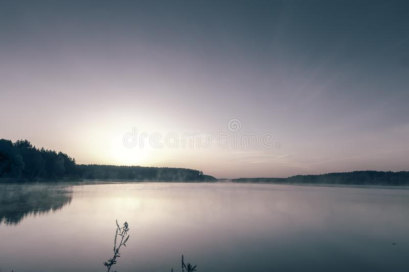 Morning landscape with sunrise over the big lake. A large beautiful lake from the banks, overgrown with forest, at dawn in the rays of the rising sun stock image