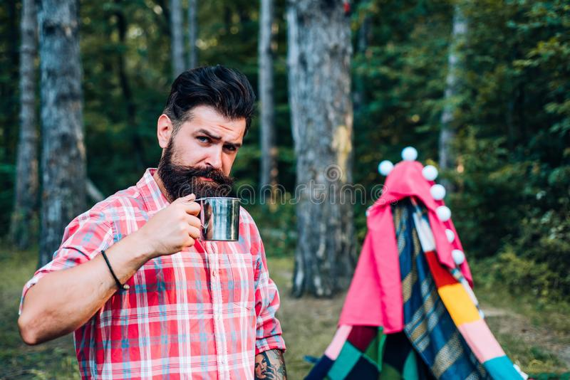 Morning landscape with tent on tree background. Traveling and Camping with a Tent. Play tent. Camping. Travel homemade royalty free stock image
