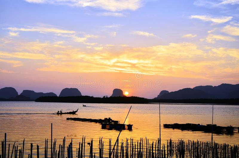 The morning life at Ban Sam Chong Tai Village, Phang Nga, Thailand. Asia, background, beach, beautiful, blue, boay, boat, fish, fisherman, lake, landscape stock photo