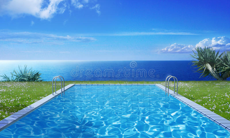 Morning light. Pool in the cold light of the morning stock illustration