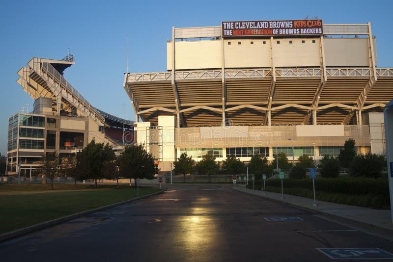 Morning light on Cleveland Browns stadium stock photos