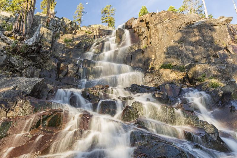 Eagle Falls Zigzag. Morning light on Eagle Falls off Lake Tahoe in Emerald Bay State Park, South Tahoe, California royalty free stock photography
