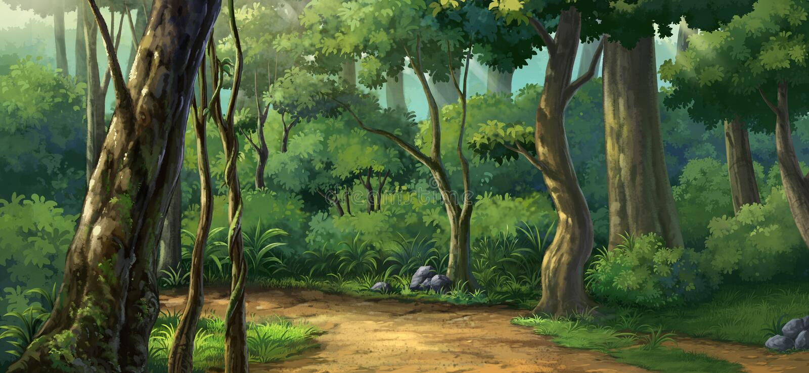 Morning light in the forest royalty free illustration