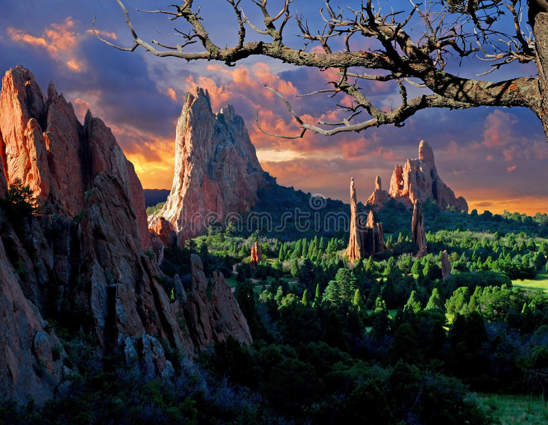 Morning Light at the Garden. Of the Gods Park in Colorado Springs, Colorado royalty free stock images