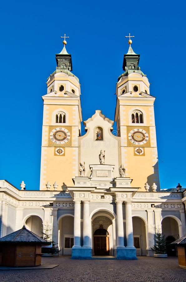 Bressanone cathedral before the Christmas markets royalty free stock photos