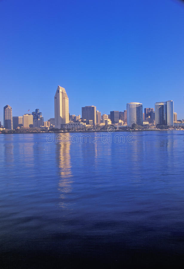 Morning light on the San Diego Bay, view from Coronado, San Diego, California royalty free stock photo