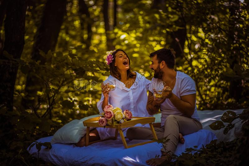 Morning like this. Couple in nature. royalty free stock photo