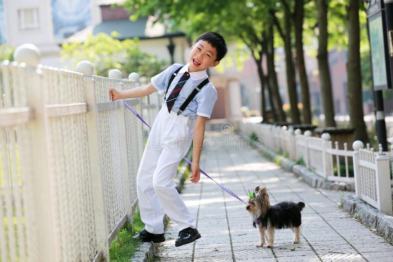 A little boy in China and his little Yorkshire dog stood in front of the fence. stock images