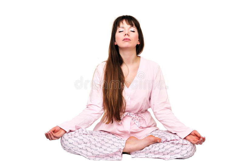 Morning meditation royalty free stock images