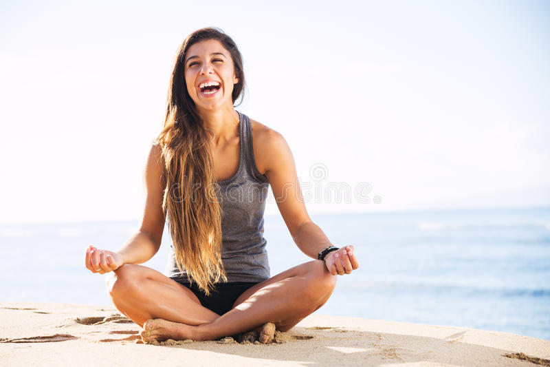 Morning Meditation. Morning Yoga Meditation by the Beach stock images
