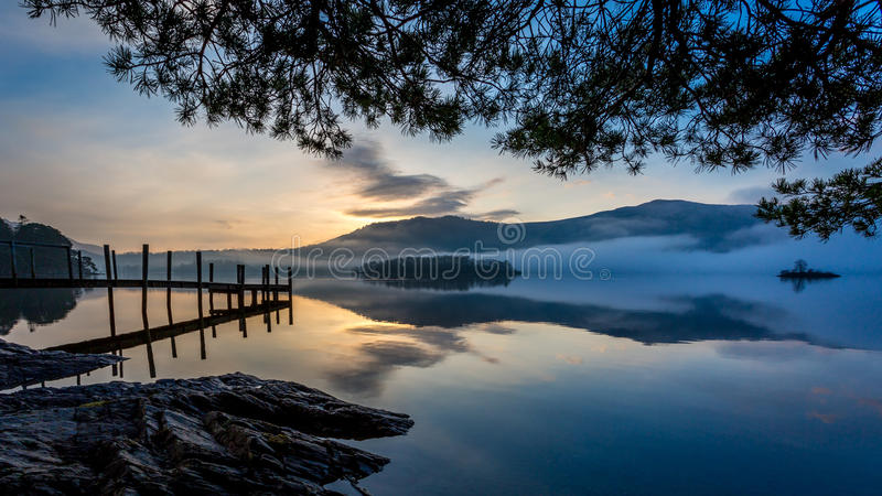 Morning mist on Derwent Water, Keswick, The Lake District stock photography