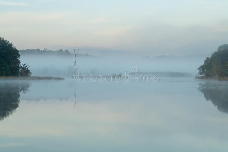 Morning mist hang low over lake during winter stock photo