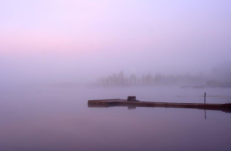 Lake Seliger: morning mist moorage stock photos
