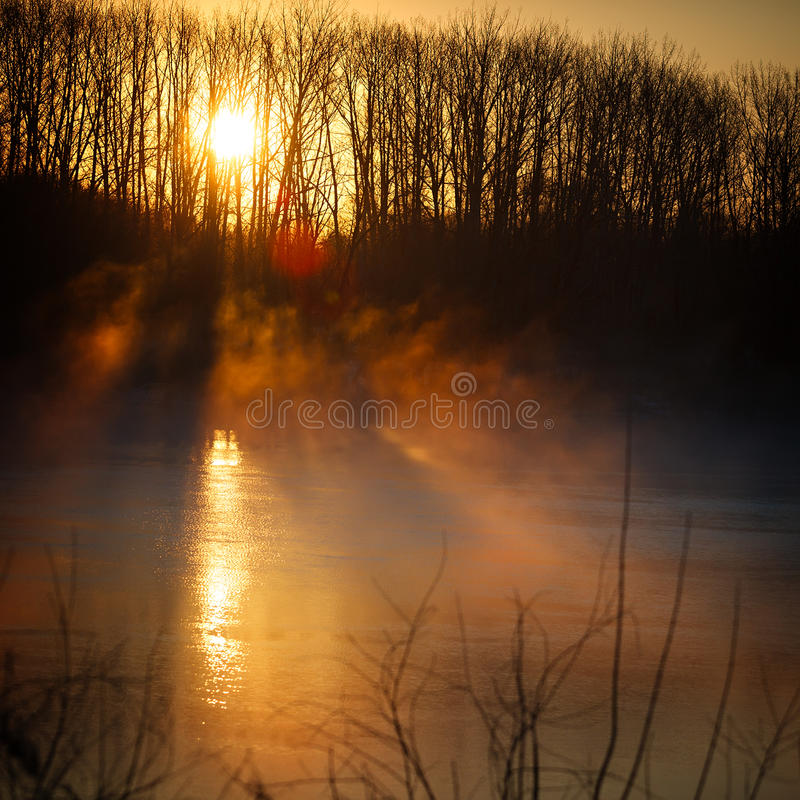 Morning mist over spring river. Central Russia, the Don. stock images