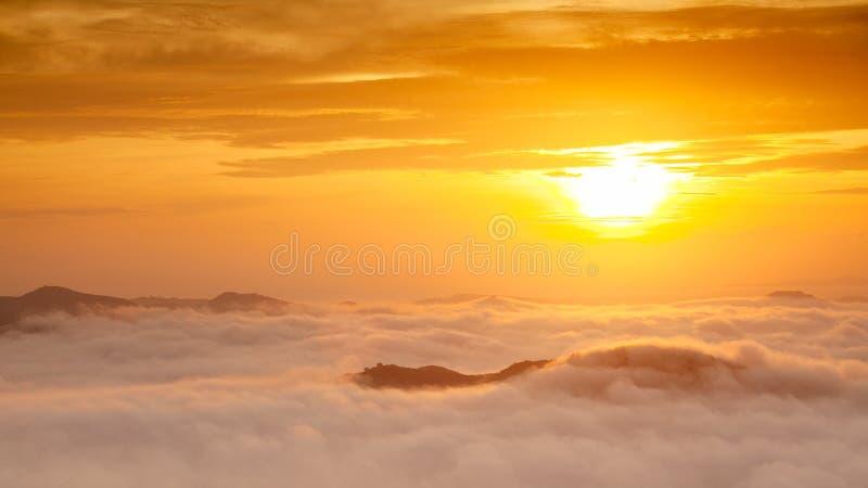 Morning Mist in Songkla, Thailand. On the of Kho Hong Mountain stock image