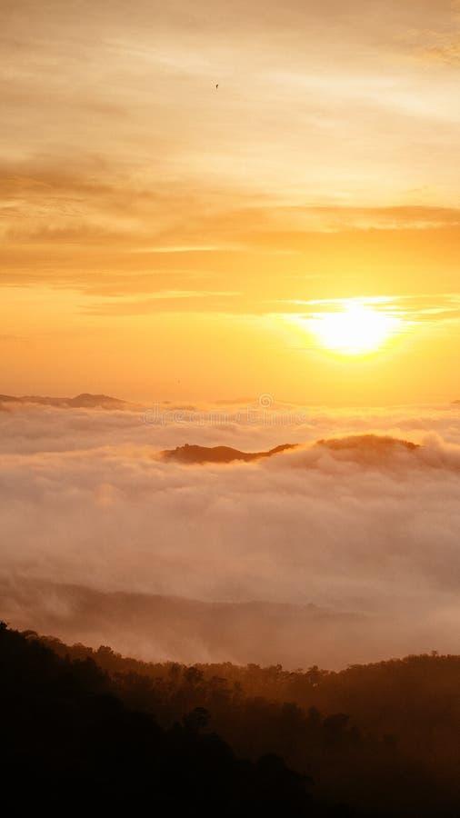 Morning Mist in Songkla, Thailand. On the of Kho Hong Mountain royalty free stock photo