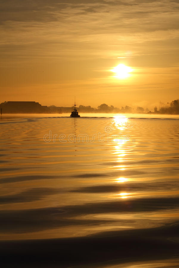 Morning Mist, Steveston Harbor Sunrise royalty free stock photo