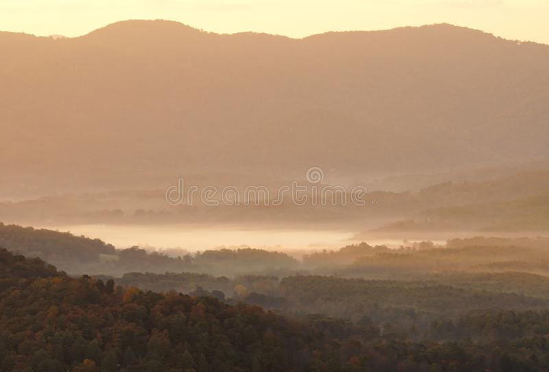 Morning with mist in the valleys in the Appalachians of North Carolina. In late fall royalty free stock photos