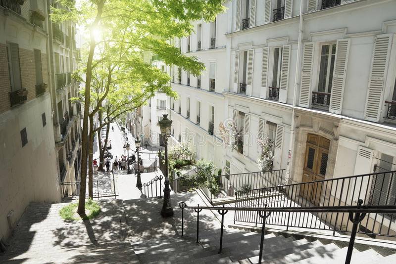 Morning Montmartre staircase in Paris, France royalty free stock images