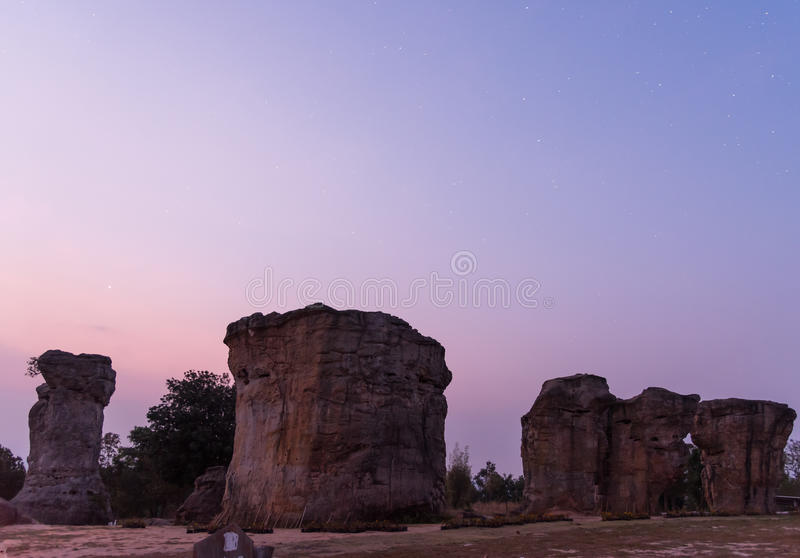 Morning at MorHinKhao is the Stonehenge in Thailand,Chaiyaphum p. Rovince Northeast of Thailand royalty free stock photos