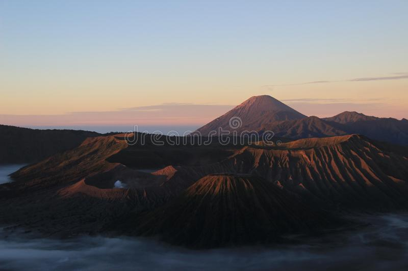 Morning in mount bromo national park. Enjoy a cool morning and beautiful views of the Mount Bromo National Park royalty free stock image