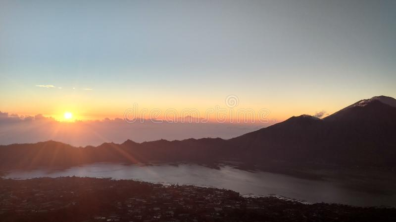 Morning in the mountain of batur bali. Morning mountain batur bali sunrise skt sky stock image