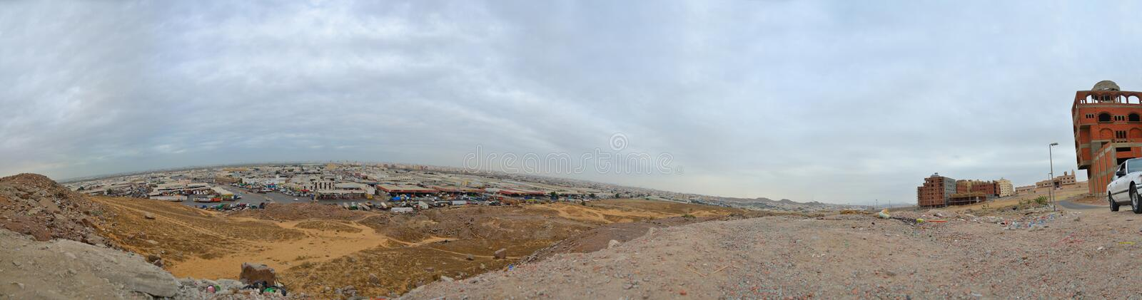 Morning on a mountain city of Jeddah stock image