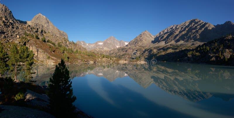 Morning on mountain lake stock image