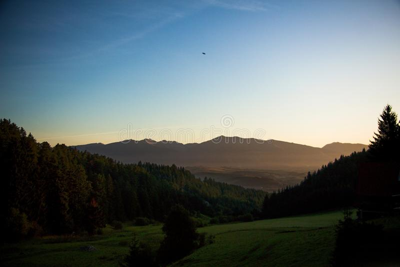 Morning by the mountains stock image