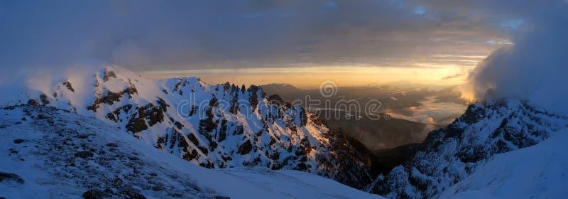 Morning mountaintop panorama stock photos