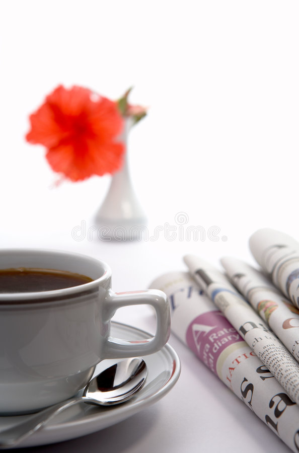 Morning with newspapers stock photo