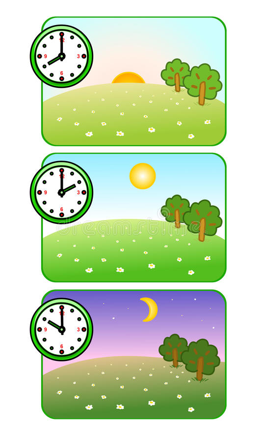 Morning, noon and night. Clock shows time of day. Forest Glade. The sun is shining. Moon and stars. Vector. stock illustration