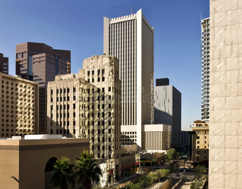 Morning Office Buildings in Phoenix. Downtown Phoenix Arizona modern workplace buildings in the morning stock photos