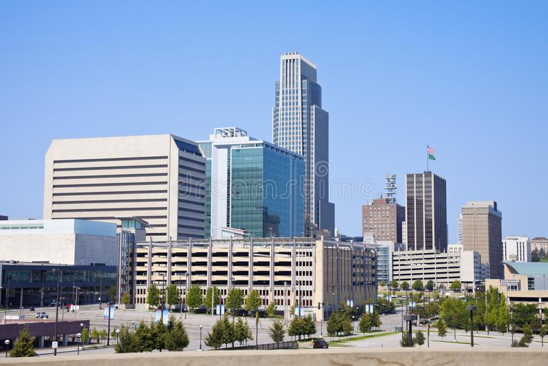 Morning in Omaha. Skyline of the city. Omaha, Nebraska, USA royalty free stock images