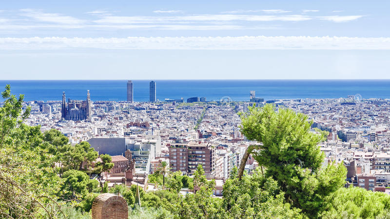 Morning panorama of Barcelona, Spain stock photo