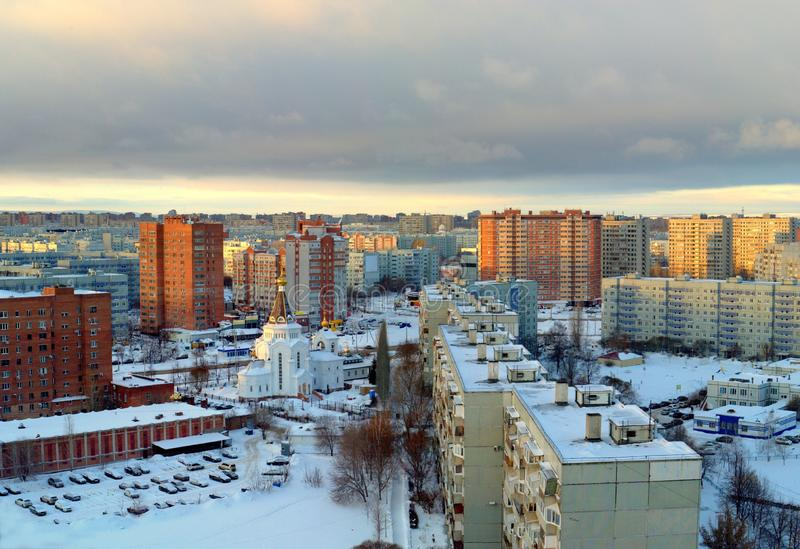 Morning panorama of the city overlooking the Church of the Holy Grand Duke Alexander Nevsky. Morning panorama of the city of Tolyatti overlooking the Parish in stock images