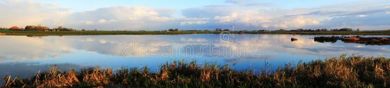 Morning panorama at the lake stock photo