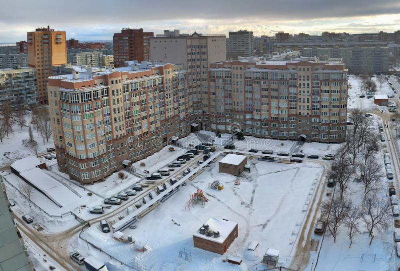Morning panorama of one of the residential areas of the Avtozavodsky district of the city of Togliatti. royalty free stock images