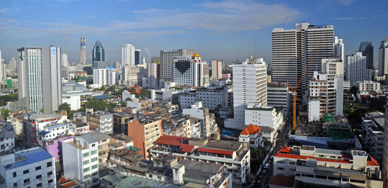 Morning Panorama of Sukhumvit in Bangkok stock photo
