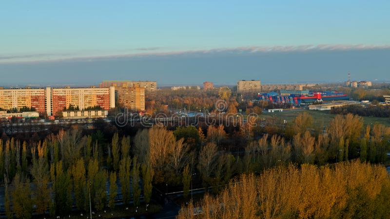 Morning panorama with a view of Victory Park, residential quarters of Avtozavodsky district. royalty free stock photography