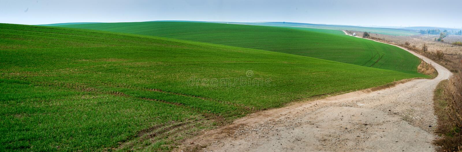 Panoramic view of beautiful agicultural fields and dirt road. Morning panoramic view of beautiful agicultural fields and dirt road stock photo