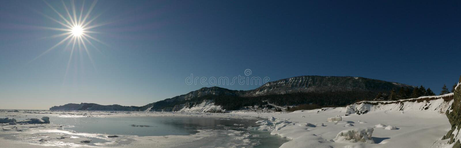 Morning panoramic view of coastal winter scene in Forillon National Park, Canada. Early morning panoramic view of a cold and crispy coastal winter scene complete royalty free stock photography