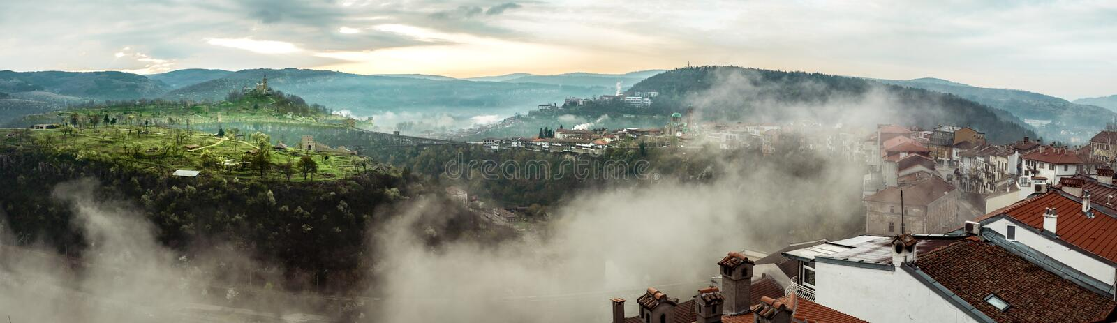 Morning panoramic view over the Veliko Tarnovo city and Tsarevets fortress stock images
