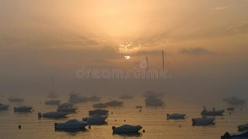 Morning in the port stock photography