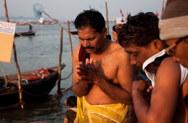 Morning pray by hindu men stock photo