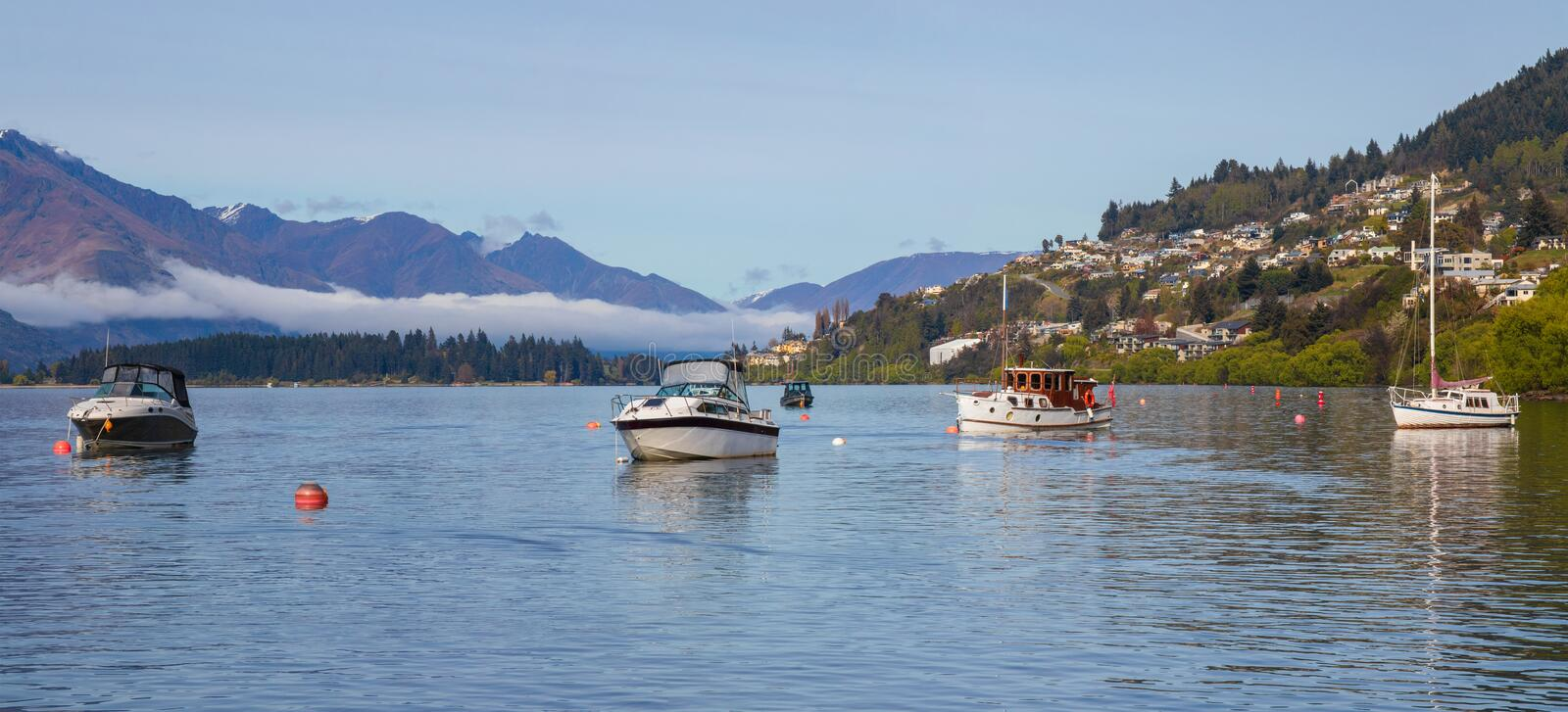 Morning in Queenstown, Wakatipu lake, New Zealand stock photography